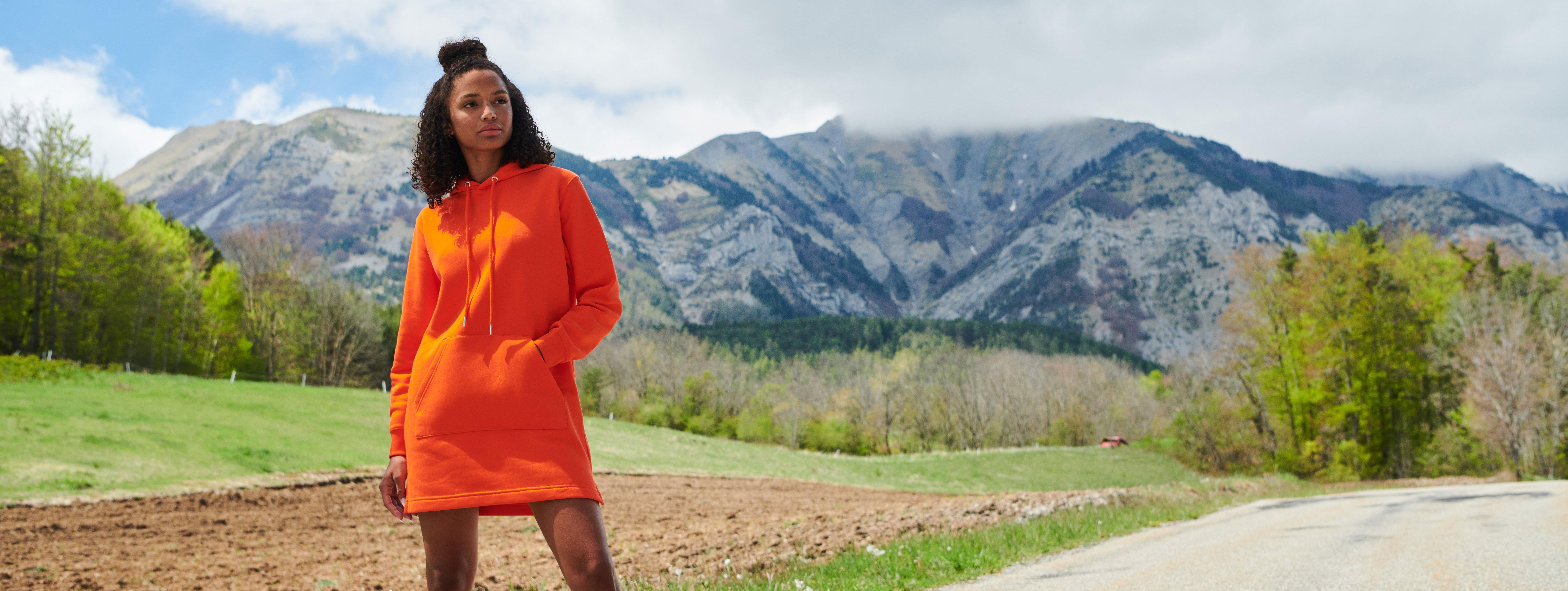 oranssi naisten hupparimekko ekologinen